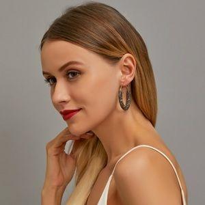 (Gray) Retro Rhinestone hoop earrings